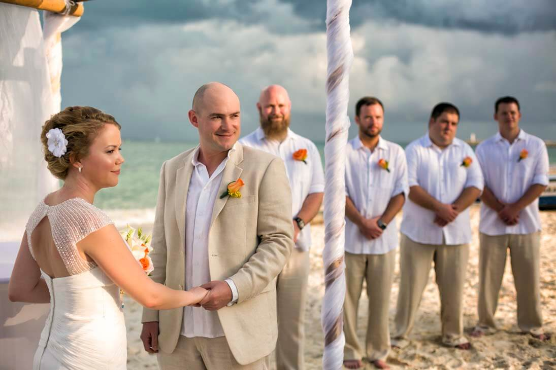 wedding ceremony photos in playa mujeres